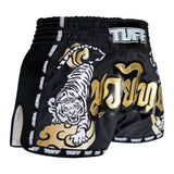 TUFF Muay Thai Boxing Shorts Black Retro Style Double Tiger With Gold Text TUF-MRS301