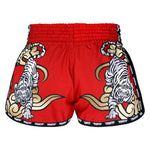 TUFF Kids Shorts Red Retro Style Double Tiger With Gold Text TUF-KRS301