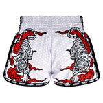 TUFF Kids Shorts White Retro Style Double Tiger With Red Text TUF-KRS301