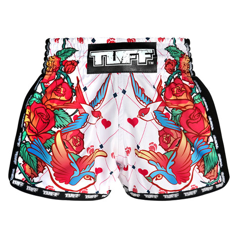 TUFF Muay Thai Boxing Shorts White Retro Style Rose With Birds TUF-MRS302