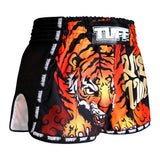 TUFF Muay Thai Boxing Shorts Black Retro Style With Cruel Tiger TUF-MRS303