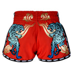 TUFF Muay Thai Boxing Shorts Red Retro Style With Cruel Tiger TUF-MRS303