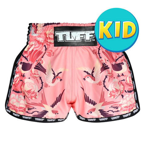 TUFF Kids Shorts Pink Retro Style Birds With Roses TUF-KRS302