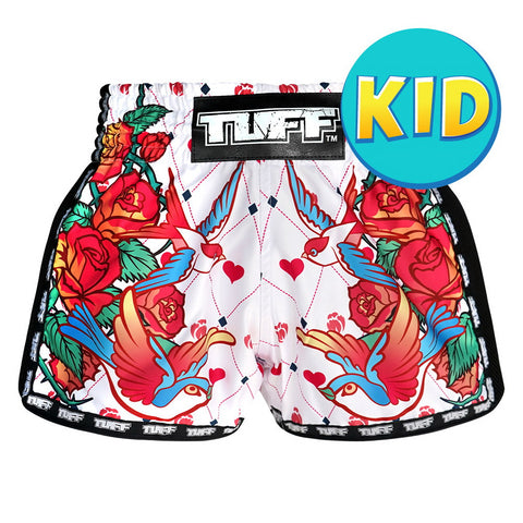 TUFF Kids Shorts White Retro Style Rose With Birds TUF-KRS302