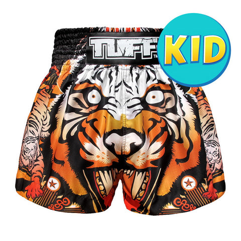 TUFF Kids Shorts Orange Traditional Style Cruel Tiger