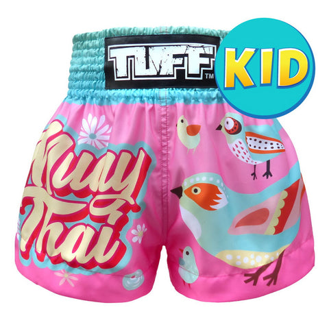 TUFF Kids Shorts Pink Pastel Birds Pattern