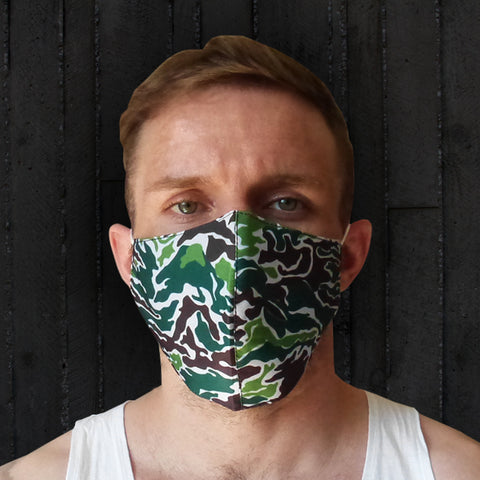 TUFF Fabric Mask Green Military Camouflage