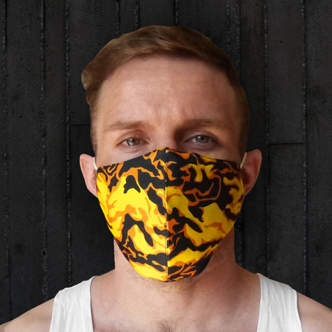 TUFF Fabric Mask Yellow Military Camouflage