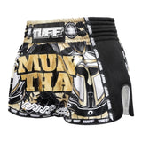 TUFF Muay Thai Boxing Shorts New Retro Style Golden Gladiator in Black