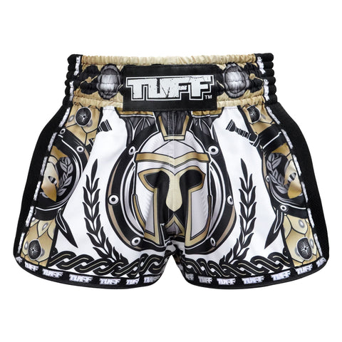 TUFF Muay Thai Boxing Shorts New Retro Style Golden Gladiator in White