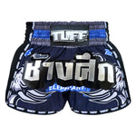 TUFF Muay Thai Boxing Shorts New Retro Style Blue War Elephant