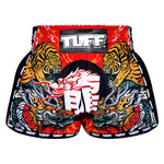 TUFF Muay Thai Boxing Shorts New Retro Style Red Chinese Dragon and Tiger
