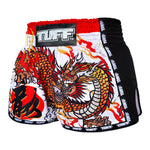 TUFF Muay Thai Boxing Shorts New Retro Style White Chinese Dragon