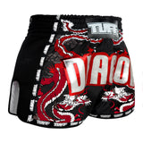 TUFF Muay Thai Boxing Shorts New Retro Style Black Chinese Dragon with Text