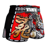 TUFF Muay Thai Boxing Shorts New Retro Style Red Chinese Dragon