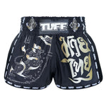 TUFF Muay Thai Boxing Shorts New Retro Style Black Singha Yantra with War Flag