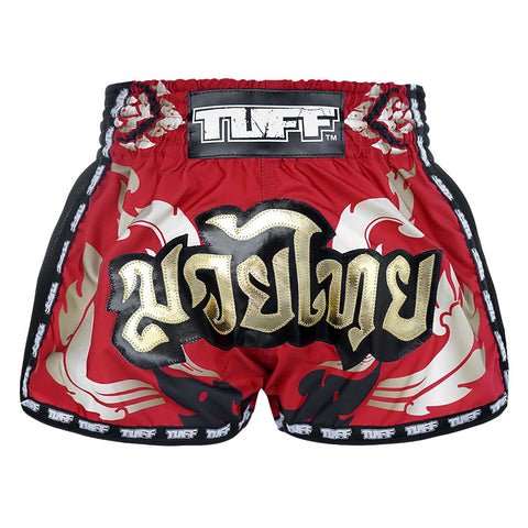 TUFF Muay Thai Boxing Shorts New Retro Style Red Thai Drawing With Muay Thai Text