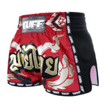 TUFF Muay Thai Boxing Shorts New Retro Style Red Thai Yantra With Muay Thai Text