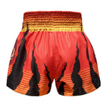 TUFF Muay Thai Boxing Shorts Red With Tiger Inspired by Chinese Ancient Drawing