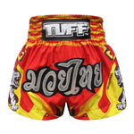 TUFF Muay Thai Boxing Shorts Red With Double White Tiger