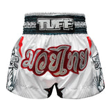 TUFF Muay Thai Boxing Shorts White With Double White Tiger