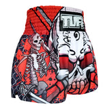 TUFF Muay Thai Boxing Shorts Black Double Skeleton With Devil Skull