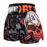 TUFF Muay Thai Boxing Shorts Battalion Skull in Black