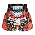 TUFF Muay Thai Boxing Shorts Dragon King in Red
