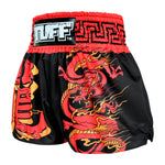 TUFF Muay Thai Boxing Shorts Red Dragon in Black