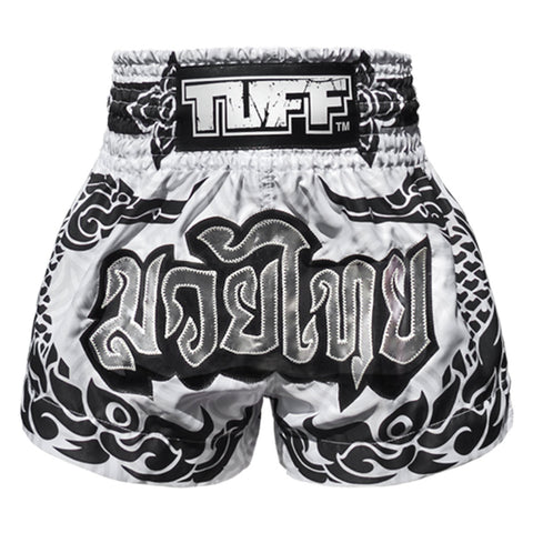 TUFF Muay Thai Boxing Shorts White THAI Mythical Creature The Great Hongsa