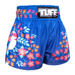 TUFF Muay Thai Boxing Shorts Blue Plum Blossom with Nightingale Bird