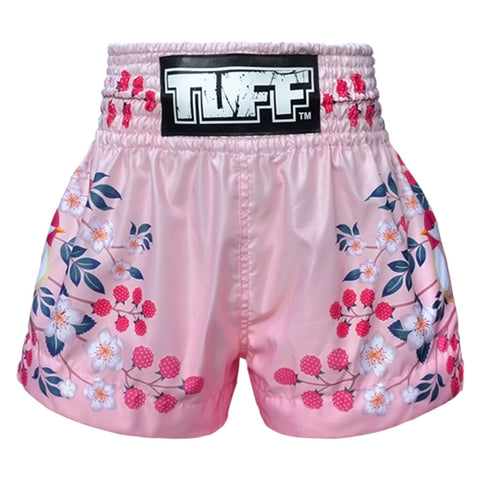 TUFF Muay Thai Boxing Shorts Pink Sakura with Nightingale Bird