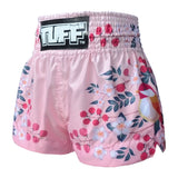 TUFF Muay Thai Boxing Shorts Pink Plum Blossom with Nightingale Bird