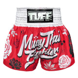 TUFF Kids Shorts Red Muay Thai Fighter with Flower Pattern