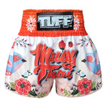 TUFF Muay Thai Shorts Orange Bird Collection Pattern