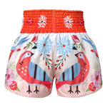 TUFF Muay Thai Shorts Orange Pastel Birds Pattern