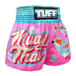 TUFF Muay Thai Shorts Pink Pastel Birds Pattern