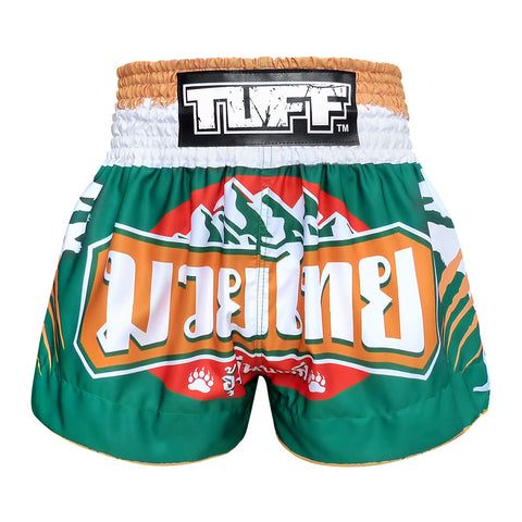 TUFF Muay Thai Boxing Shorts Green Mountain Bear