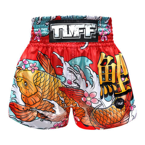 TUFF Muay Thai Boxing Shorts Red Japanese Koi Fish