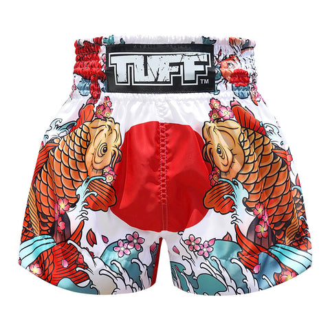 TUFF Muay Thai Boxing Shorts White Japanese Koi Fish