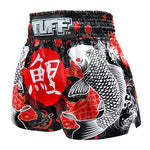 TUFF Muay Thai Boxing Shorts Black Japanese Koi Fish