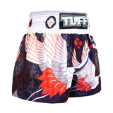 TUFF Muay Thai Boxing Shorts Navy Blue Japanese Drawing Crane Birds