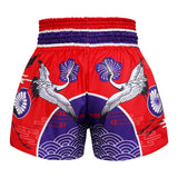 TUFF Muay Thai Boxing Shorts Red Japanese Drawing Crane Birds