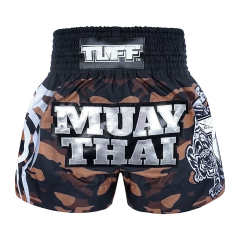 TUFF Muay Thai Boxing Shorts New Brown Military Camouflage