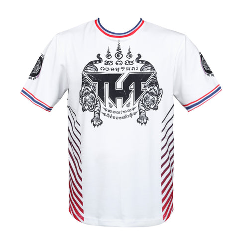 TUFF Muay Thai Shirt True Power Double Tiger White