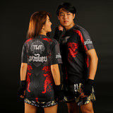 TUFF Black Shirt Double Tiger With Thai Mythical Forest Creatures