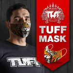 TUFF Fabric Mask Grey Hanuman Yantra with War Flag