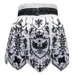 TUFF Muay Thai Boxing Shorts Gladiator Black & White Classic Victorian Pattern