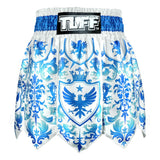 TUFF Muay Thai Boxing Shorts Gladiator Blue & White Classic Victorian Pattern