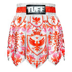 TUFF Muay Thai Boxing Shorts Gladiator Red & White Classic Victorian Pattern